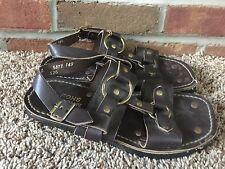 MASON SHOES men's 7D brown leather hippie sandals VTG 1970s Tire Tread heavy USA