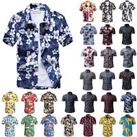 Men Short Sleeve Hawaiian Shirt Summer Casual Beach Holiday Floral Slim Fit Tops