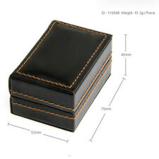 Mens PU Leather Cuff Link Box Tie Bar Case Jewelry Holder Black Tone for Men
