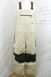 686 Hot Lap Insulated Bib Snowboard Pants, Mens Large, Putty Colorblock New 2022