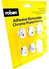 NEW Rolson 5pc Removeable Adhesive Chrome Plated Strong Hooks