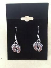 Baby Feet Earrings, Baby Shower, Tibetan , Sterling Silver hooks (stamped)