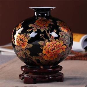 Porcelain Ceramic Decorative Vase Black Floral Design Classic Handmade Decor New