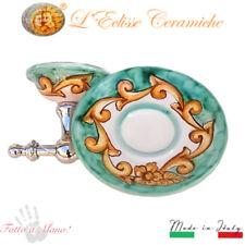 Arredo Bagno Portasapone da parete ceramica Vietri e acciaio Barocco Verde