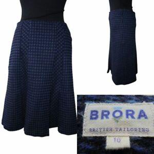 Designer Brora Tweed Blue Skirt UK 10