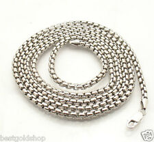 "36"" 3.5mm Mens Round Venetian Box Chain Necklace Solid Sterling Silver No Tarnis"