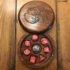 Walnut Wood Polyhedral Dice Box for Dungeons and Dragons (DnD)/Pathfinder RPGs