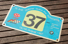 VINTAGE RALLY SIGN / PLAQUE # 15. AVD BMW OLDTIMER RALLY NÜRBURGRING 1987 NO. 37
