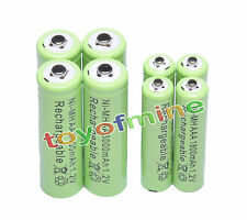 4+4 X AA AAA 1800mAh 3000mAh Rechargeable Battery 1.2V Green