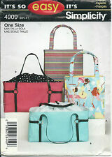 S 4909 sewing pattern Designer Style HANDBAG PURSE Tote BAG Craft sew Easy UNCUT