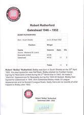 Bobby Rutherford Gateshead 1946-1952 Rara Original Firmada A Mano cutting/card