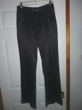Women's Vtg In Charge Black Polyester Satin Pants Sz 11 High Waist Flare