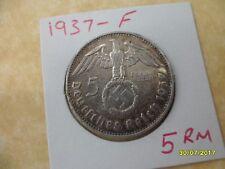 5 Reichsmark 1937-F Hindenburg croix gammée Troisième Reich monnaie argent Deutsches Reich