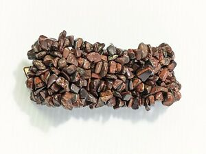 Artisan Brown Polished Stone Chip Woven Style Wide Stretch Bracelet