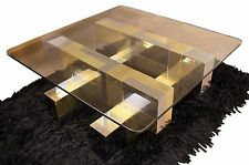 Mid Century Modern Paul Evans Cityscape Chrome Brass Glass Coffee Table 1970's
