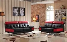 RICO BLACK AND RED BONDED LEATHER 3 + 2 SEATER LEATHER SOFAS