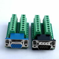 D-SUB DB15 Adapter VGA 3Row 15Pin To Terminal Breakout Board Connector
