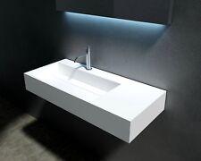 "Waterloo 36"" (Left Side) Wall Mounted Basin, Solid Surface Bathroom Vanity"