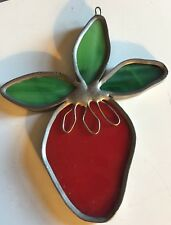 Vintage STRAWBERRY STAINED GLASS SUNCATCHER