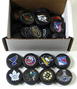 Lot of (28) Assorted NHL Team Logo MINI Hockey Pucks - Rangers Blues Penguins