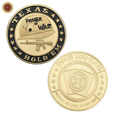 """WR Poker Card Guard """"POKER IS WAR"""" 24K Gold Plated Casino Chip Coin Collectibles"""