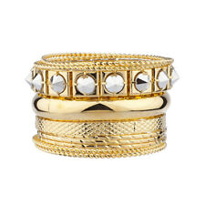 Lux Accessories Pyramid Spike Textured Mixed Metal Multiple Bangle Bracelet Set