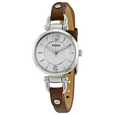 Fossil Georgia Silver Dial Brown Leather Ladies Watch ES3861