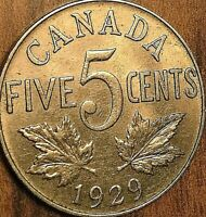 1929 CANADA 5 CENTS COIN - Excellent example !