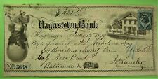 Bank Draft, 1879, HAGERTOWN Bank, Hagerstown, MD, Two nice vignettes.