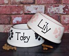 medium slanted dog bowl hand painted personalised ceramic dog food bowl feeder