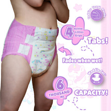 Tykables Unicorns Single Nappy Sample - ABDL Adult Diaper - Size M