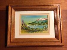 Mini Landscape Mountain Lake Original Painting Cardboard Framed 3 1/2x5