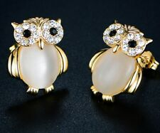 Sevil 18K Gold Plated Pearl Owl Stud Earrings With Multi-Color Swarovski Element