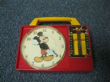 Vintage Disney Mickey Mouse Wind Up Musical Radio Clock Toy ILLCO