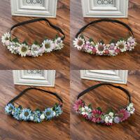 Women Fairy Wedding Flower Headband Crown Hair Wreath Hairband Elastic Garland