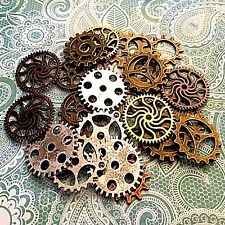 160 Pc New Steampunk Gears Lot Watch Parts Wheels Cogs Brass Silver Gold VX4