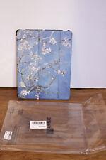New Fintie iPad 2/3/4 Case Lightweight Smart Slim Shell Flower Pattern Blue