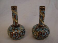 PAIR OF ANTIQUE FRENCH ENAMELED GILT BRONZE VASES,LATE 19th CENTURY.