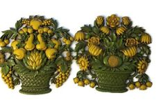 Set of 2 1966 Dart Ind. Wall Art Basket of Fruits and Flowers Yellow and Green