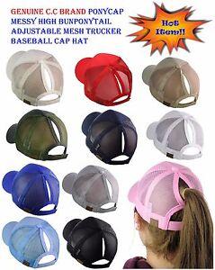C.C Ponycap Messy High Bun Ponytail Adjustable Mesh Trucker Baseball CC Cap Hat