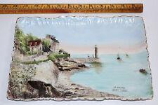 Antique Le Phare Saint Brieuc souvenir porcelain platter, hand painted seascape