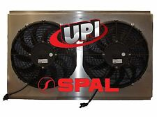 "12"" DUAL SPAL FANS ON ALUMINUM SHROUD WITH LOUVERS 26.00"" X  16.00"" - MADE USA"