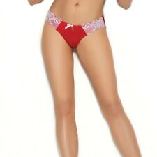Valentines Day Lingerie Red White Satin Lace Panty Women