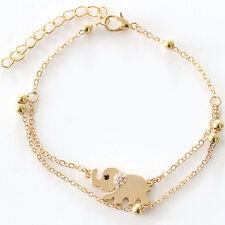 Moda M Encanto Diamantes de imitación Oro Elefante Cadena Pulsera Joyería Regalo