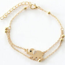 Trendy Women's Charm Rhinestone Gold Plated Elephant Chain Bracelet IFF