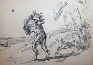 Vintage Ink Painting Male And Goats