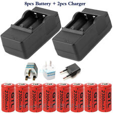 8x16340 2300mAh CR123A Rechargeable Battery For Flashlight Laser Pointer+Charger