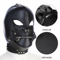 Leather Mask Hood Zipper mouth gag Halloween Full Gimp Open Eyes lockable slave