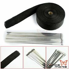 "2"" 50ft Roll Fiberglass Exhaust Header Pipe Manifold Heat Wrap Tape+ 6 Ties Kit"