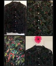 Anna Sui Floral Velvet Flocked Sheer Chiffon Shirt Button Black Blouse Silk  4
